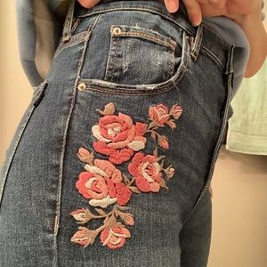 Embroidered Garage Jeans